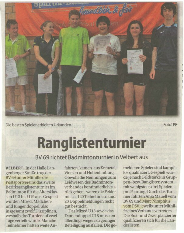 Ranglisten BV69 + PSV 07 2011