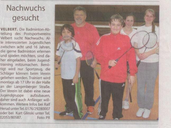 Artikel Badminton Jugend 29 02 2012