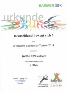 Badminton Hobby Turnier 2014 1. Mannschaftswertung